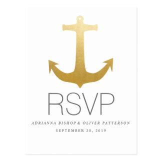 Modern Faux Gold Foil Anchor Nautical Wedding RSVP Postcard