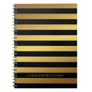 Modern Faux Gold Foil and Black Stripes Note Book