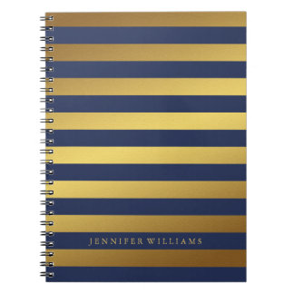 Modern Faux Gold Foil and Blue Stripes Note Book