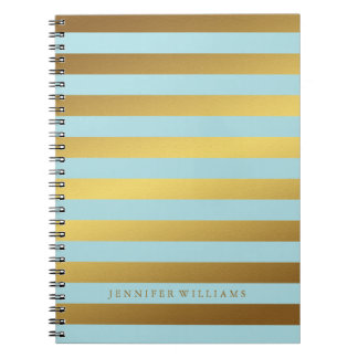 Modern Faux Gold Foil and Mint Stripes Spiral Notebook