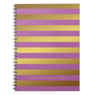 Modern Faux Gold Foil and Orchid Stripes Note Books