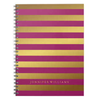 Modern Faux Gold Foil and Raspberry Stripes Note Books