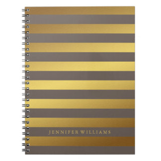 Modern Faux Gold Foil and Taupe Stripes Spiral Notebook