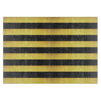 Modern Faux Gold Foil Black Stripes Cutting Board