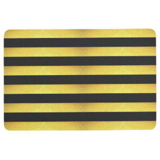Modern Faux Gold Foil Black Stripes Floor Mat