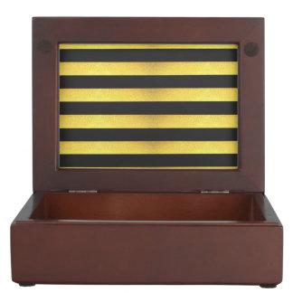 Modern Faux Gold Foil Black Stripes Keepsake Box