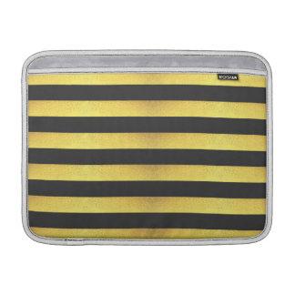 Modern Faux Gold Foil Black Stripes MacBook Sleeve