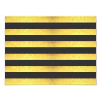 Modern Faux Gold Foil Black Stripes Photo