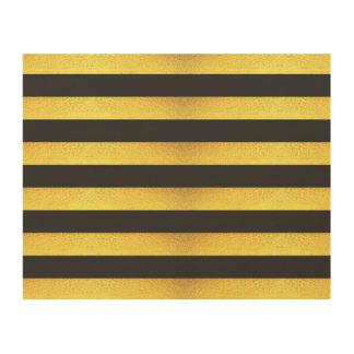 Modern Faux Gold Foil Black Stripes Wood Canvas