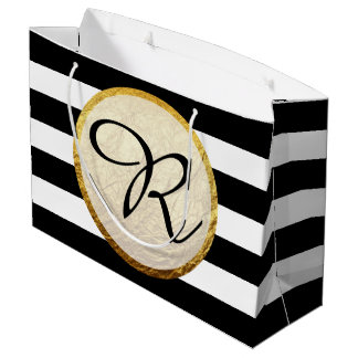 Modern Faux Gold Foil Black White Stripe Monogram Large Gift Bag