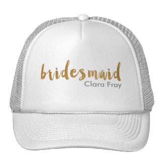 modern faux gold foil bridesmaid cap