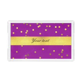 Modern Faux Gold Foil Confetti Purple