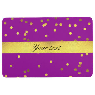 Modern Faux Gold Foil Confetti Purple Floor Mat