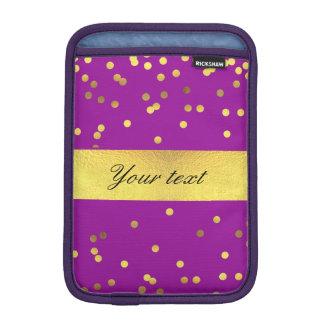 Modern Faux Gold Foil Confetti Purple iPad Mini Sleeves