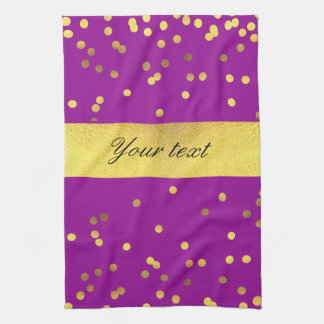 Modern Faux Gold Foil Confetti Purple Kitchen Towel