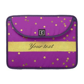 Modern Faux Gold Foil Confetti Purple MacBook Pro Sleeve