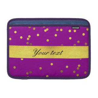 Modern Faux Gold Foil Confetti Purple MacBook Sleeves