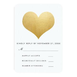 Modern Faux Gold Foil Cute Heart Wedding RSVP Card