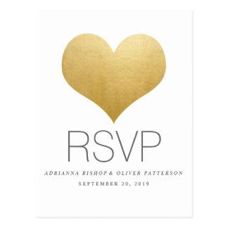 Modern Faux Gold Foil Cute Heart Wedding RSVP Postcard