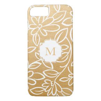 Modern Faux Gold Foil Floral Overlay Monogram iPhone 8/7 Case