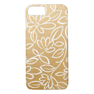 Modern Faux Gold Foil Floral pattern iPhone 8/7 Case
