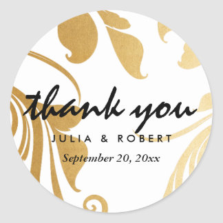 Modern Faux Gold Foil Flourish Wedding Thank You Round Sticker