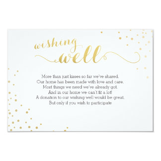 Modern Faux Gold Foil Glamour Wishing Well Card 9 Cm X 13 Cm Invitation Card