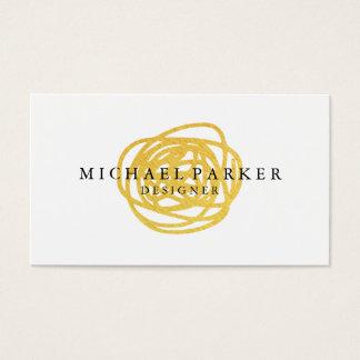 Modern Faux Gold Foil Hand Drawn Circle Business Card