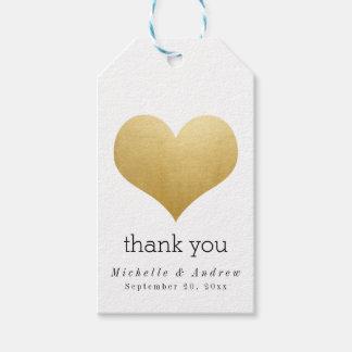 Modern Faux Gold Foil Heart Thank You Wedding