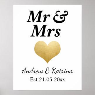 Modern Faux Gold Foil Heart Wedding | Mr & Mrs Poster