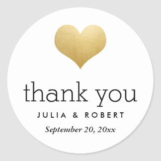 Modern Faux Gold Foil Heart Wedding Thank You Classic Round Sticker