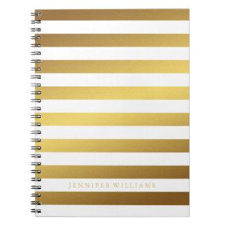 Modern Faux Gold Foil Stripes Pattern Spiral Notebook