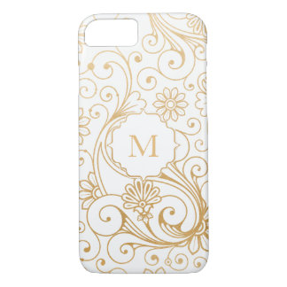 Modern Faux Gold Foil Swirl on White with Monogram iPhone 8/7 Case