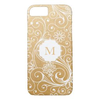 Modern Faux Gold Foil Swirl Overlay Monogram iPhone 8/7 Case