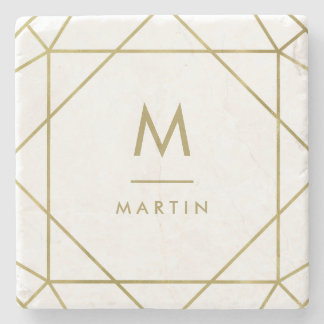 Modern Faux Gold Geometric Lines with Monogram Stone Coaster