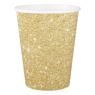 Modern Faux Gold Glitter Chic Paper Plates Paper Cup