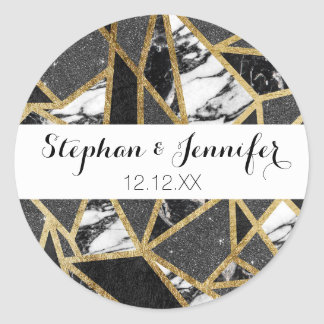 Modern Faux Gold Glitter Marble Geometric Triangle Round Sticker