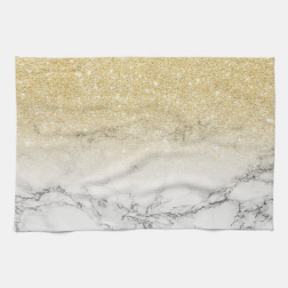 Modern faux gold ombre white marble color block tea towel