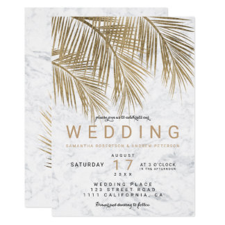 Modern faux gold palm tree elegant marble wedding card