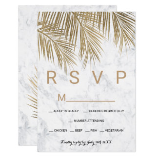 Modern faux gold palm tree marble RSVP wedding Card