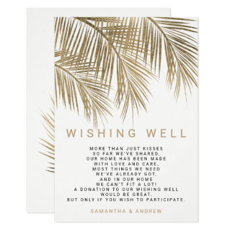 Modern faux gold palm tree wishing well wedding card