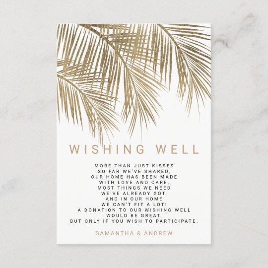 Wishing Well Wedding.Modern Faux Gold Palm Tree Wishing Well Wedding Enclosure Card