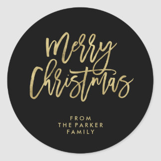 Modern Faux Gold Typography | Merry Christmas Round Sticker