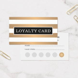 Modern Faux Gold White Stripes Beauty Loyalty Card