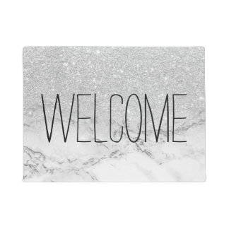 Modern faux grey silver glitter ombre white marble doormat