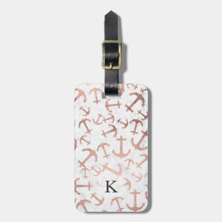 Modern faux rose gold anchors pattern white marble luggage tag
