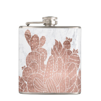Modern faux rose gold cactus marble pattern hip flask