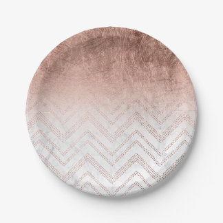 Modern faux rose gold chevron sticth marble 7 inch paper plate