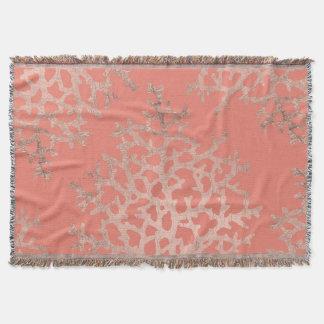 Modern faux rose gold coral sea pattern salmon throw blanket