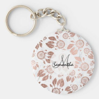 Modern faux rose gold dreamcatcher feathers marble key ring